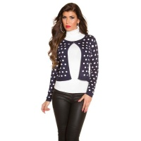 ELEGANT FINE-KNITTED CARDIGAN JACKET WITH POLKA DOTS NAVY