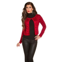 ELEGANT FINE-KNITTED CARDIGAN JACKET WITH POLKA DOTS RED