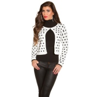 ELEGANT FINE-KNITTED CARDIGAN JACKET WITH POLKA DOTS WHITE