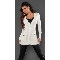 ELEGANT CARDIGAN JERSEY JACKET WITH SATIN-BOWS CREAM