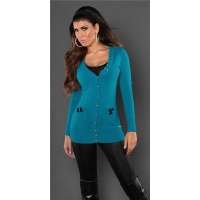 ELEGANT CARDIGAN JERSEY JACKET WITH SATIN-BOWS PETROL