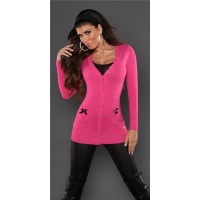 ELEGANT CARDIGAN JERSEY JACKET WITH SATIN-BOWS FUCHSIA