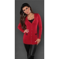 ELEGANT CARDIGAN JERSEY JACKET WITH SATIN-BOWS RED