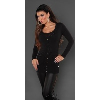 ELEGANT CARDIGAN JERSEY JACKET WITH SATIN-BOWS BLACK Onesize (UK 8,10,12)