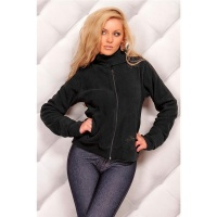 ELEGANT FLEECE JACKET WITH ZIPPER BLACK