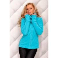 ELEGANT FLEECE JACKET WITH ZIPPER TURQUOISE