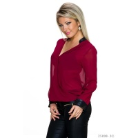 ELEGANT TRANSPARENT CHIFFON BLOUSE IN WRAP-LOOK WINE-RED