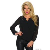 ELEGANT TRANSPARENT CHIFFON BLOUSE IN WRAP-LOOK BLACK Onesize (UK 8,10,12)