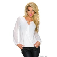 ELEGANT TRANSPARENT CHIFFON BLOUSE IN WRAP-LOOK WHITE Onesize (UK 8,10,12)