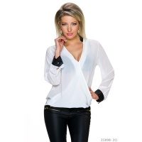 ELEGANTE TRANSPARENTE CHIFFON BLUSE IN WICKEL-OPTIK WEISS