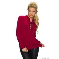 ELEGANT TRANSPARENT CHIFFON BLOUSE WITH LACING WINE-RED