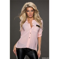 ELEGANT TRANSPARENT CHIFFON BLOUSE WITH ZIPPER-POCKET PINK Onesize (UK 8,10,12)