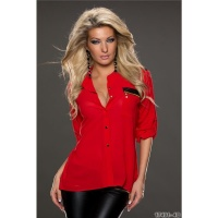 ELEGANT TRANSPARENT CHIFFON BLOUSE WITH ZIP POCKET RED Onesize (UK 8,10,12)