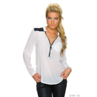 ELEGANT TRANSPARENT CHIFFON BLOUSE WITH ZIPPER WHITE Onesize (UK 8,10,12)