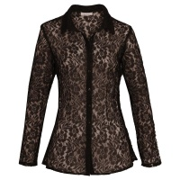 ELEGANT TRANSPARENT LONG-SLEEVED BLOUSE MADE OF LACE BLACK