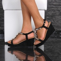 ELEGANT VELOUR WEDGE SANDALS WITH RHINESTONES BLACK