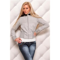 ELEGANT CUDDLY SWEAT-JACKET WITH EMBROIDERY FAKE FUR GREY