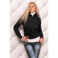 ELEGANT CUDDLY SWEAT-JACKET WITH EMBROIDERY FAKE FUR BLACK
