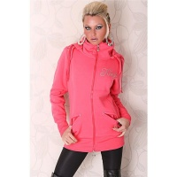 BEAUTIFUL JACKET WITH HOOD AND RIVETS CORAL