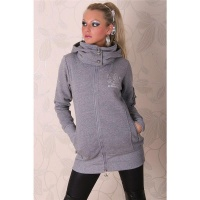 BEAUTIFUL JACKET WITH HOOD AND SILVER PRINT GREY