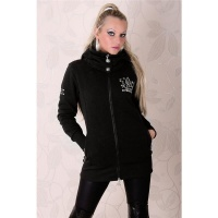 BEAUTIFUL JACKET WITH HOOD AND SILVER PRINT BLACK