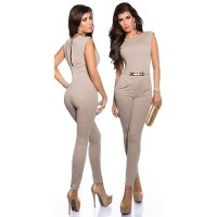 ELEGANT SLEEVELESS OVERALL JUMPSUIT WITH GOLD-COLOURED BUCKLE BEIGE UK 14/16 (L)