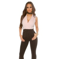 ELEGANT SLEEVELESS OVERALL JUMPSUIT WITH TIE BELT BLACK/PINK