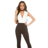 ELEGANT SLEEVELESS OVERALL JUMPSUIT WITH TIE BELT...