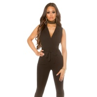 ELEGANT SLEEVELESS OVERALL JUMPSUIT WITH TIE BELT BLACK
