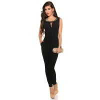 ELEGANT SLEEVELESS OVERALL JUMPSUIT WITH RHINESTONES BLACK UK 10/12 (S)