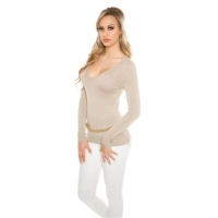 ELEGANT FINE-KNITTED BASIC SWEATER JUMPER WITH V-NECK BEIGE