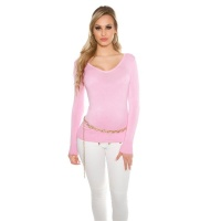 ELEGANT FINE-KNITTED BASIC SWEATER JUMPER WITH V-NECK PINK