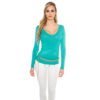 ELEGANT FINE-KNITTED BASIC SWEATER JUMPER WITH V-NECK...
