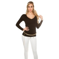 ELEGANT FINE-KNITTED BASIC SWEATER JUMPER WITH V-NECK BLACK