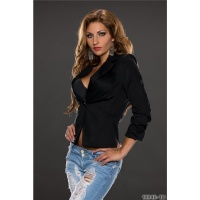 ELEGANT BLAZER JACKET WITH GATHERS BLACK UK 8 (S)