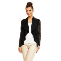 ELEGANT CHIFFON BOLERO WITH FINE LACE BLACK UK 10/12 (S/M)