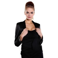 ELEGANT BOLERO MADE OF SHINY SATIN BLACK UK 14 (XL)