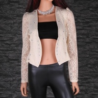 ELEGANT CROCHETED LACE BOLERO WITH RHINESTONES BEIGE