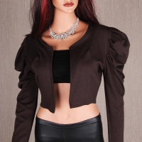 ELEGANT BOLERO LITTLE JACKET WITH LONG PUFF SLEEVES BROWN