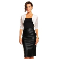 ELEGANT BOLERO WITH HALF-LENGTH LACE SLEEVES WHITE Onesize (UK 8/10)