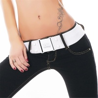 ELEGANT WIDE LADIES� STRETCH BELT WHITE
