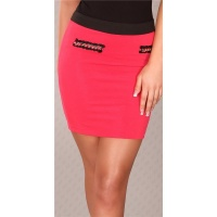 ELEGANT BUSINESS MINI SKIRT WITH CHAINS FUCHSIA UK 14