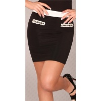 ELEGANT BUSINESS MINISKIRT WITH CHAINS BLACK