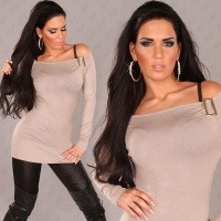 ELEGANT CARMEN FINE-KNITTED SWEATER LONG SWEATER CAPPUCCINO