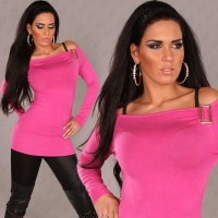 ELEGANT CARMEN FINE-KNITTED SWEATER LONG SWEATER FUCHSIA