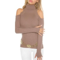 ELEGANT RIB-KNITTED COLD SHOULDER SWEATER PULLOVER CAPPUCCINO