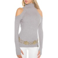 ELEGANT RIB-KNITTED COLD SHOULDER SWEATER PULLOVER GREY Onesize (UK 8,10,12)