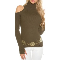 ELEGANT RIB-KNITTED COLD SHOULDER SWEATER PULLOVER KHAKI
