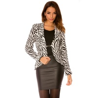 ELEGANT LADIES BLAZER JACKET WITH ZEBRA PATTERN BLACK/WHITE