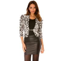 ELEGANT WAISTED LADIES BLAZER JACKET MOSAIC BLACK/WHITE